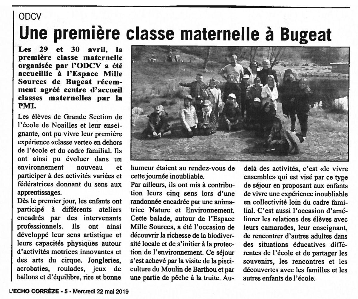 Une première classe maternelle à Bugeat